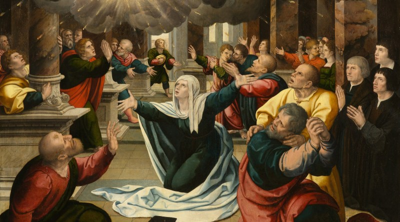 The Pentecost, by Follower of Bernard van Orley, c. 1530. North Carolina Museum of Art, Raleigh, North Carolina, United States. Via IllustratedPrayer.com