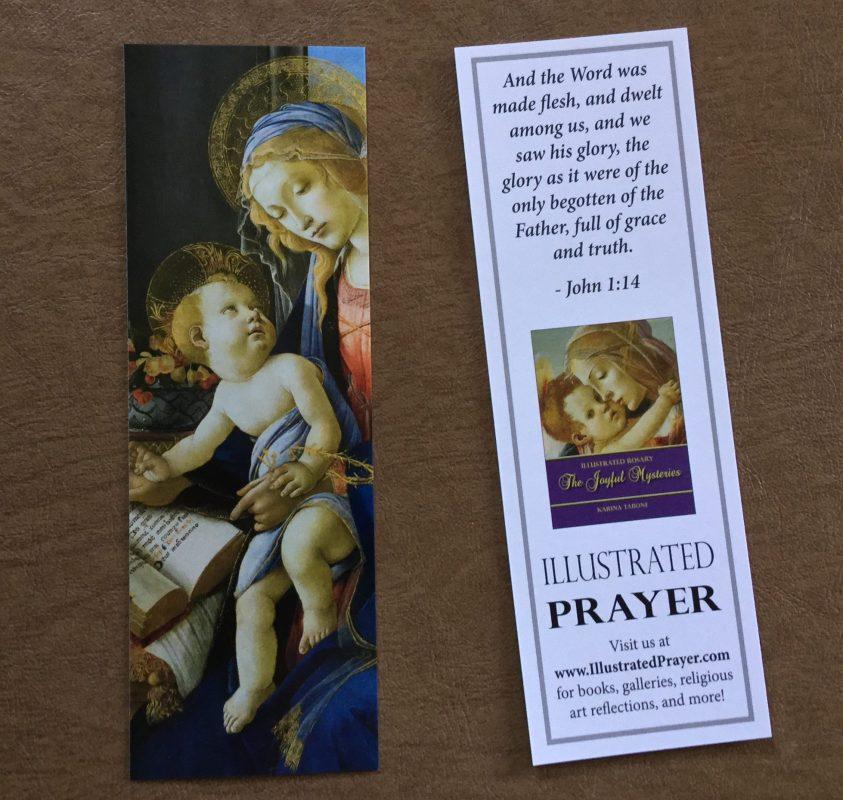 Promotional Bookmark for Illustrated Rosary series. Via IllustratedPrayer.com
