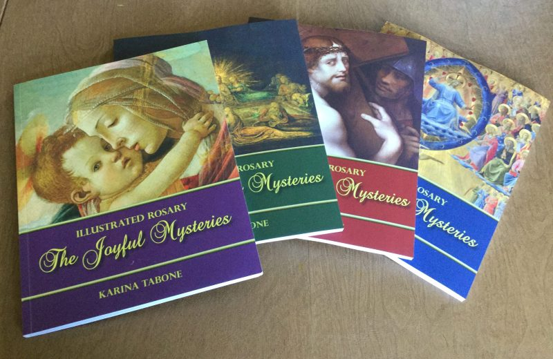Paperback copies of the Illustrated Rosary series. Via IllustratedPrayer.com