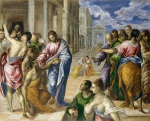 Christ Healing the Blind, by El Greco, c. 1570. Met Museum, New York, New York, United States. Via IllustratedPrayer.com