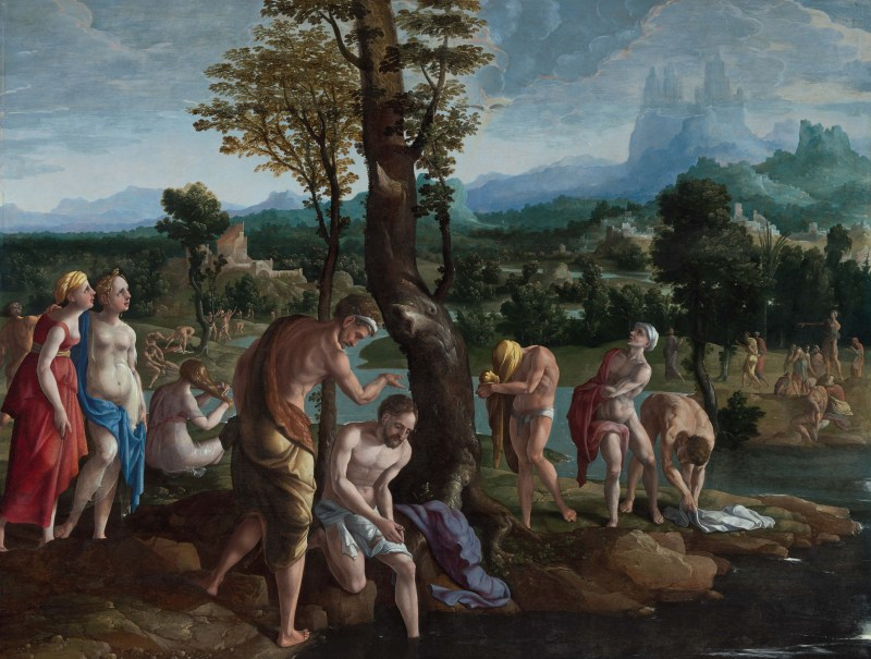 The Baptism of Christ, by Jan van Scorel, c. 1530. Frans Hals Museum, Haarlem, Netherlands. Via IllustratedPrayer.com