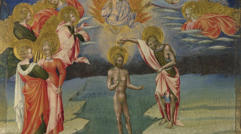 The Baptism of Christ, by Giovanni di Paolo, c. 1454. National Gallery, London, United Kingdom. Via IllustratedPrayer.com