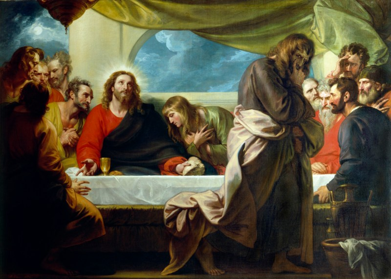 Last Supper, by Benjamin West, c. 1786. Detroit Institute of Arts, Detroit, Michigan, United States. Via IllustratedPrayer.com