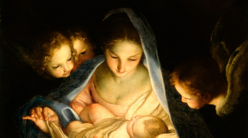 The Holy Night, by Carlo Maratta, c. 1655. Staatliche Kunstsammlungen Dresden, Dresden, Germany. Via IllustratedPrayer.com