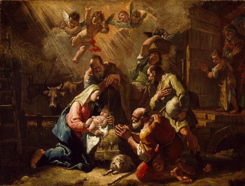 The Adoration of the Shepherds, by Francesco Fontebasso, c. 1734-69, Museum of Fine Arts, Houston, Texas, United States. Via IllustratedPrayer.com