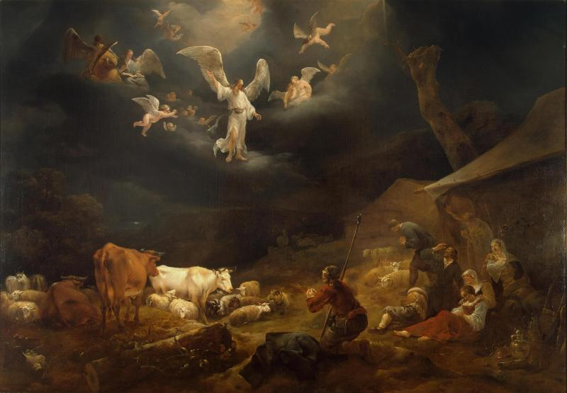 Annunciation to the Shepherds, by Nicholas Pietersz Berchem, c. 1649. State Hermitage Museum, St. Petersburg, Russia. Via IllustratedPrayer.com
