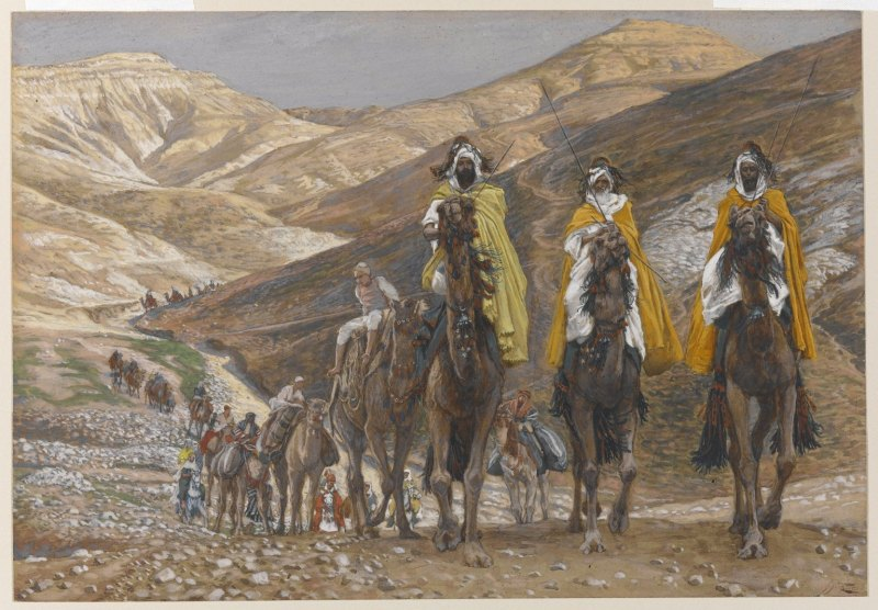 The Magi Journeying, by James Tissot, c. 1886-94. Brooklyn Museum, New York, New York, United States. Via IllustratedPrayer.com