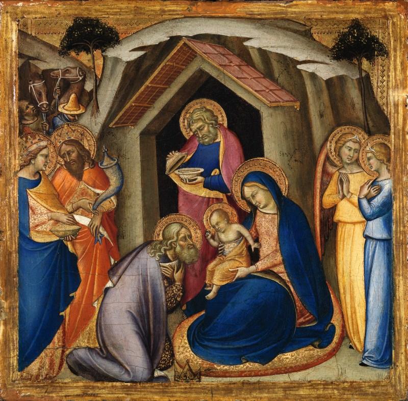 The Adoration of the Magi, by Luca di Tommè, c. 14th century. Museo Nacional Thyssen-Bornemisza, Madrid, Spain. Via IllustratedPrayer.com