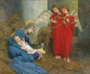 Angels Entertaining the Holy Child, by Marianne Stokes, c. 19th century. Private collection. Via IllustratedPrayer.com