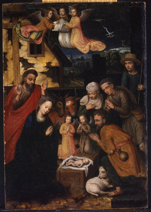 The Adoration of the Shepherds, by Marcellus Coffermans, c. 1561. Metropolitan Museum of Art, New York, New York, United States.