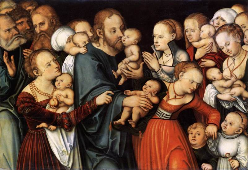 Christ Blessing the Children, by Lucas Cranach the Elder, c. 1535-40. Stadelsches Kunstinstitut, Franfurt, German. Via IllustratedPrayer.com