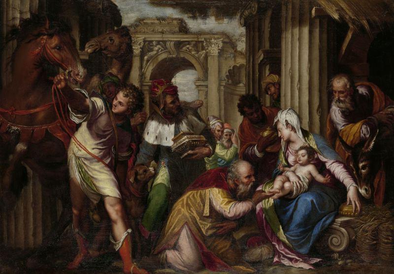 The Adoration of the Magi, by Paolo Farinati, c. 1585. Rijksmuseum, Amsterdam, Netherlands. Via IllustratedPrayer.com