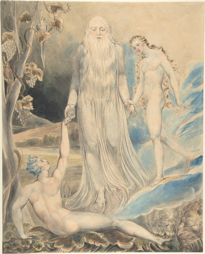 Angel of the Divine Presence Bringing Eve to Adam, by William Blake, c. 1803. Metropolitan Museum of Art, New York, New York, United States. Via IllustratedPrayer.com