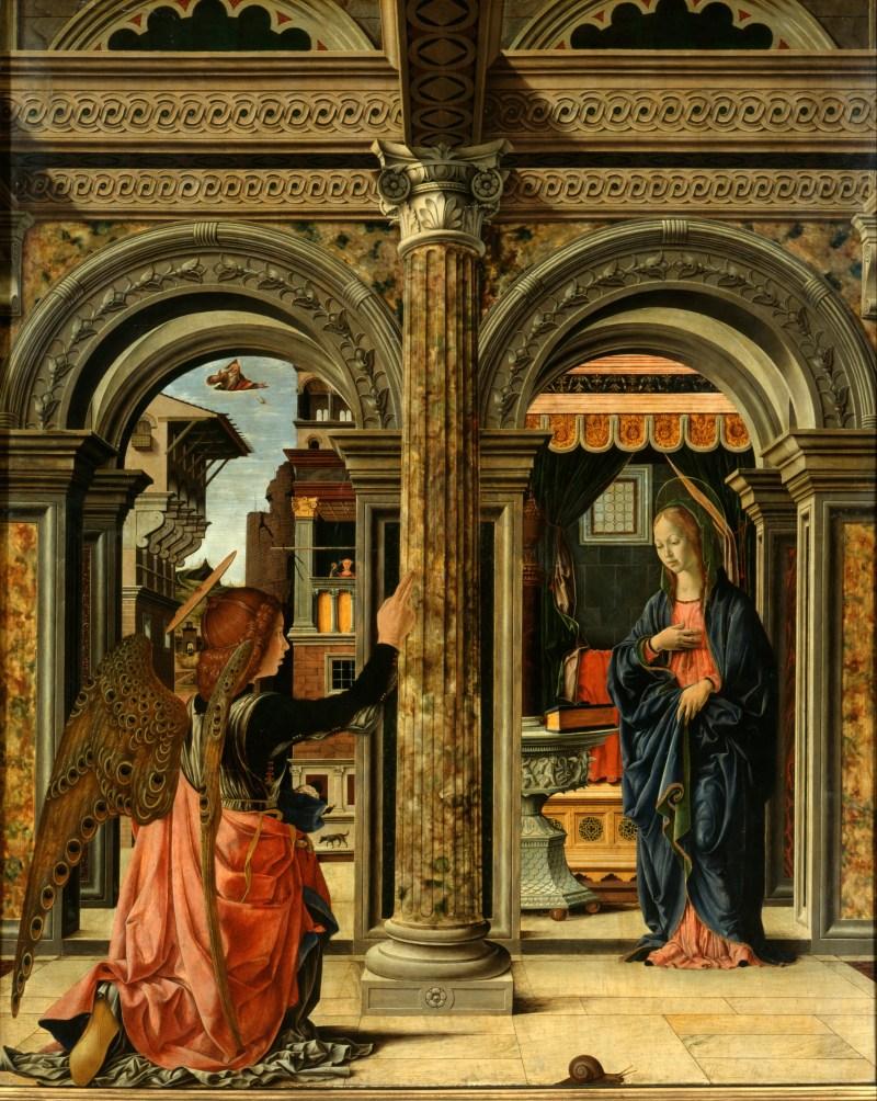 The Annunciation, by Francesco del Cossa, c. 1470-72. Gemäldegalerie Alte Meister, Dresden, Germany. Via IllustratedPrayer.com