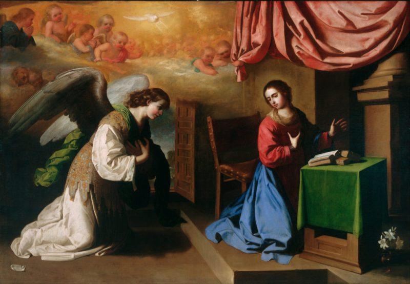 The Annunciation, by Francisco de Zurbarán, c. 1650. Philadelphia Museum of Art, Philadelphia, Pennsylvania, United States. Via IllustratedPrayer.com