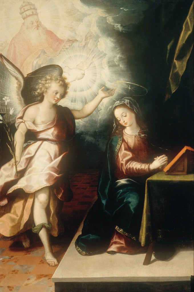 The Annunciation, by Luis Juárez, c. 1638. Museo Nacional de Arte, Mexico City, Mexico. Via IllustratedPrayer.com