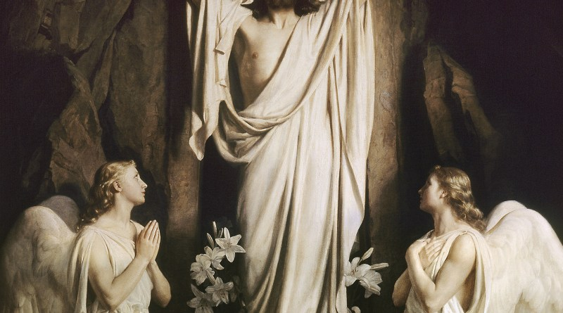 Resurrection of Christ, by Carl Heinrich Bloch, c. 1875. Frederiksborg Museum, Copenhagen Denmark. Via IllustratedPrayer.com