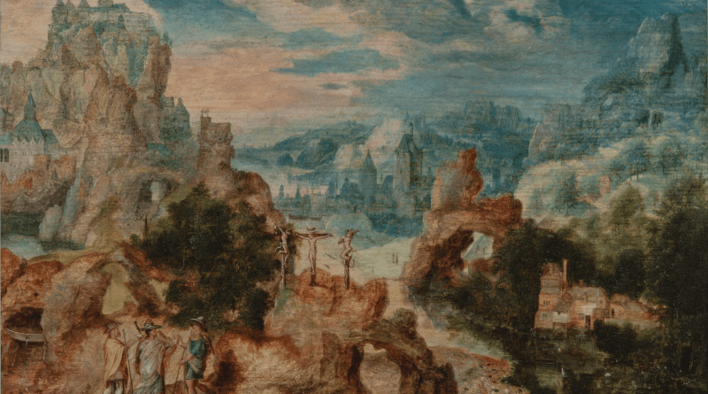 Landscape with Three Pilgrims to Emmaus, by Herri met de Bles