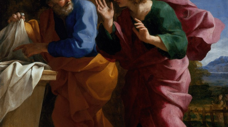St. John and St. Peter at Christ's Tomb, by Giovanni Francesco Romanelli, c. 1640. Los Angeles County Museum of Art, Los Angeles, California, United States.