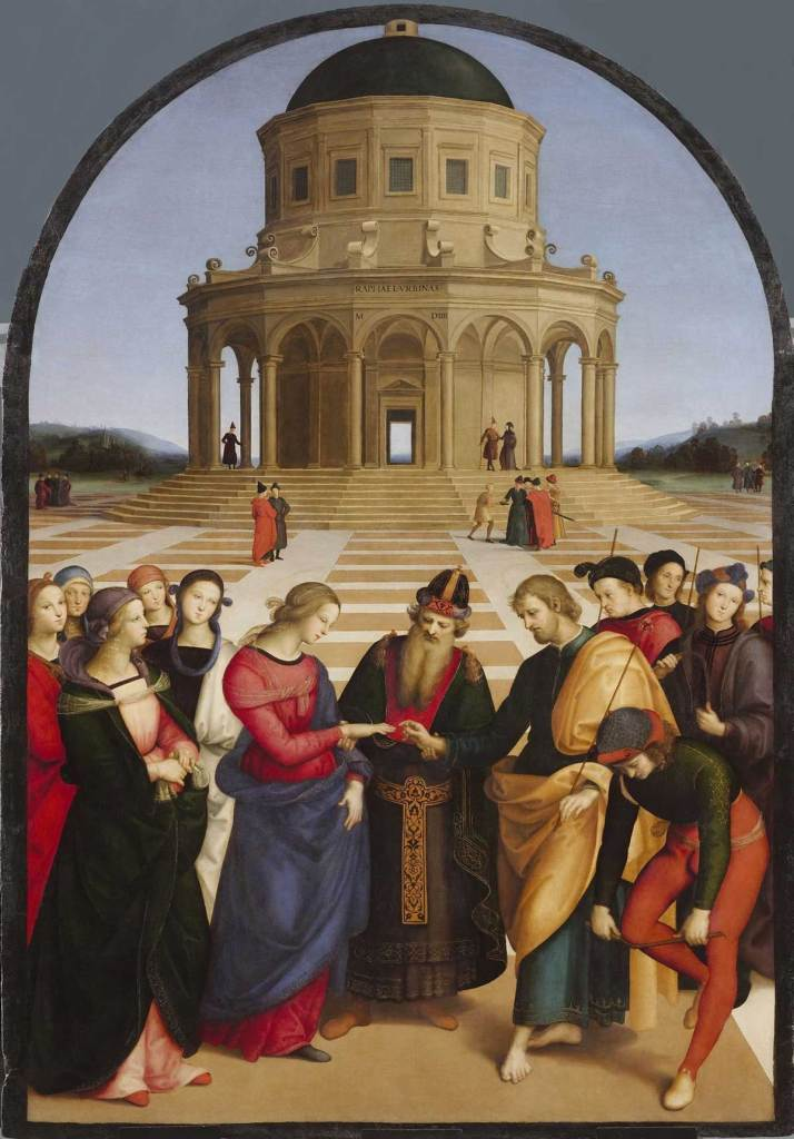 The Marriage of the Virgin, by Raphael, c. 1504. Pinacoteca di Brera, Milan, Italy.