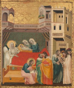 The Birth, Naming, and Circumcision of Saint John the Baptist, by Giovanni Baronzio, c. 1335. National Gallery of Art, Washington, D.C., United States.