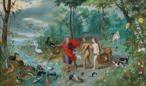 Adam and Eve in Paradise, by Jan Brueghel the Younger, c. 1650. Private collection.