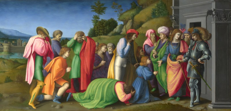 Joseph Pardons His Brothers, by Bacchiacca, c. 1515. National Gallery, London, United Kingdom.