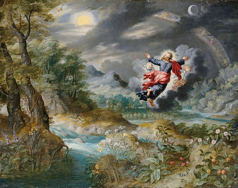 God Creating the Sun, the Moon and the Stars in the Firmament, by Jan Breughel II, c. 17th century. Private collection.