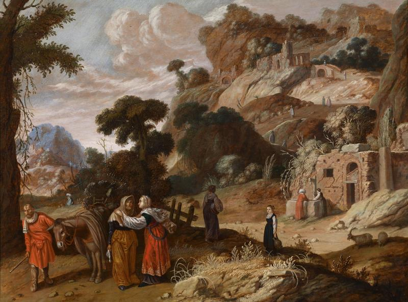 Ruth Goes to Bethlehem with Naomi, by Jacob Pynas, c. 1650. Private collection.