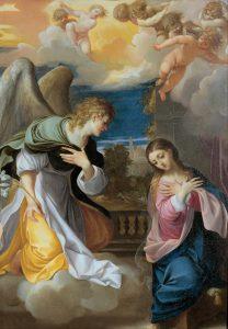 Annunciation, by Ludovico Carracci, c. 1603-04. Musei di Strada Nuova, Genoa, Italy.