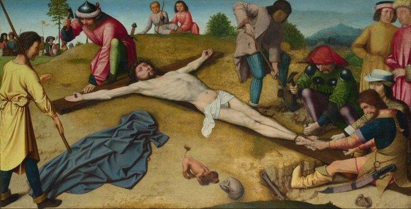 Christ Nailed to the Cross, by Gerard David, c. 1481. National Gallery, London, United Kingdom.