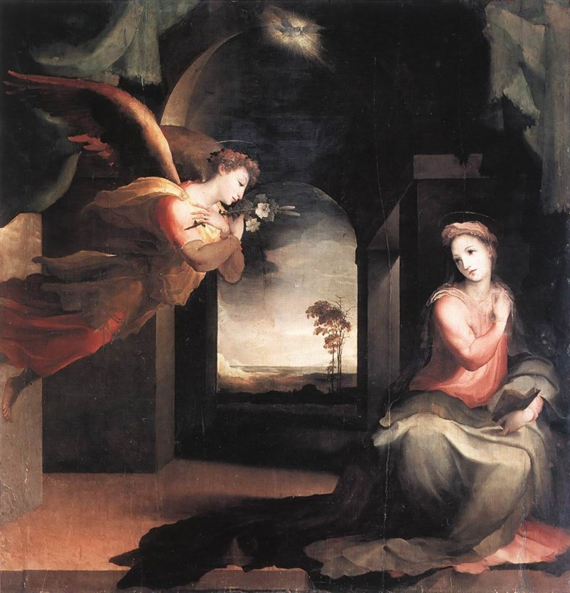 The Annunciation, by Domenico Beccafumi, c. 1545-46. Chiesa di San Martino in Foro, Sarteano, Italy.