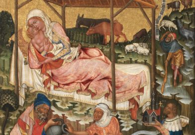 Nativity, by Master of Vyšší Brod, c. 1350. Národni Galerie, Prague, Czechia.