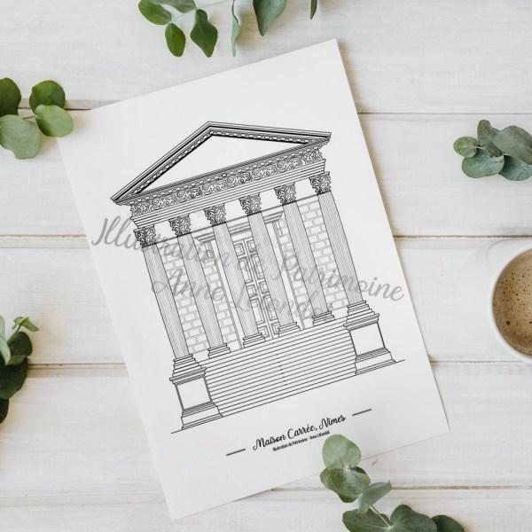 illustration_de_patrimoine_anne_létondot_boutique_Maison_carrée_nimes_patrimoine_paca_tourisme_souvenirs_de_vacances