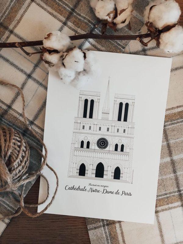 Illustration de patrimoine notre dame de paris affiche monument parisien patrimoine religieux cathédrale catholique