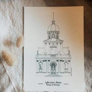 Illustration_dessin_eglise_saint_martin_abbaye_juaye_mondaye_calvalos_normandie_illustrationdepatrimoine