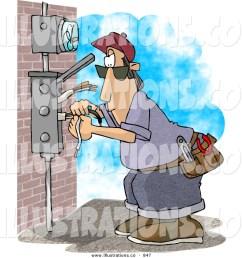 royalty free stock illustration of anelectrician wiring a brick building or checking the meter [ 1024 x 1044 Pixel ]