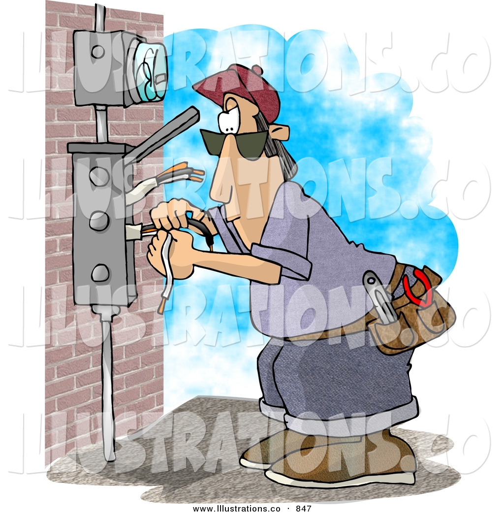 hight resolution of royalty free stock illustration of anelectrician wiring a brick building or checking the meter