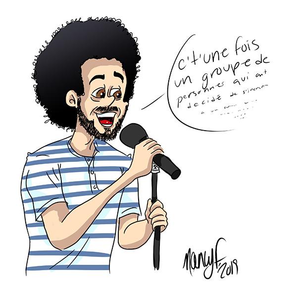 Humoriste québécois Adib Alkhalidey sur scène illustration Nancy Fournier