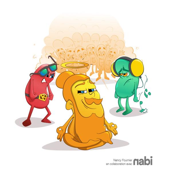 Bean rouge, jaune et verte, agence nabi. illustration nancy fournier, cartoon, lunette, superman, écouteur, colère, triste, fier