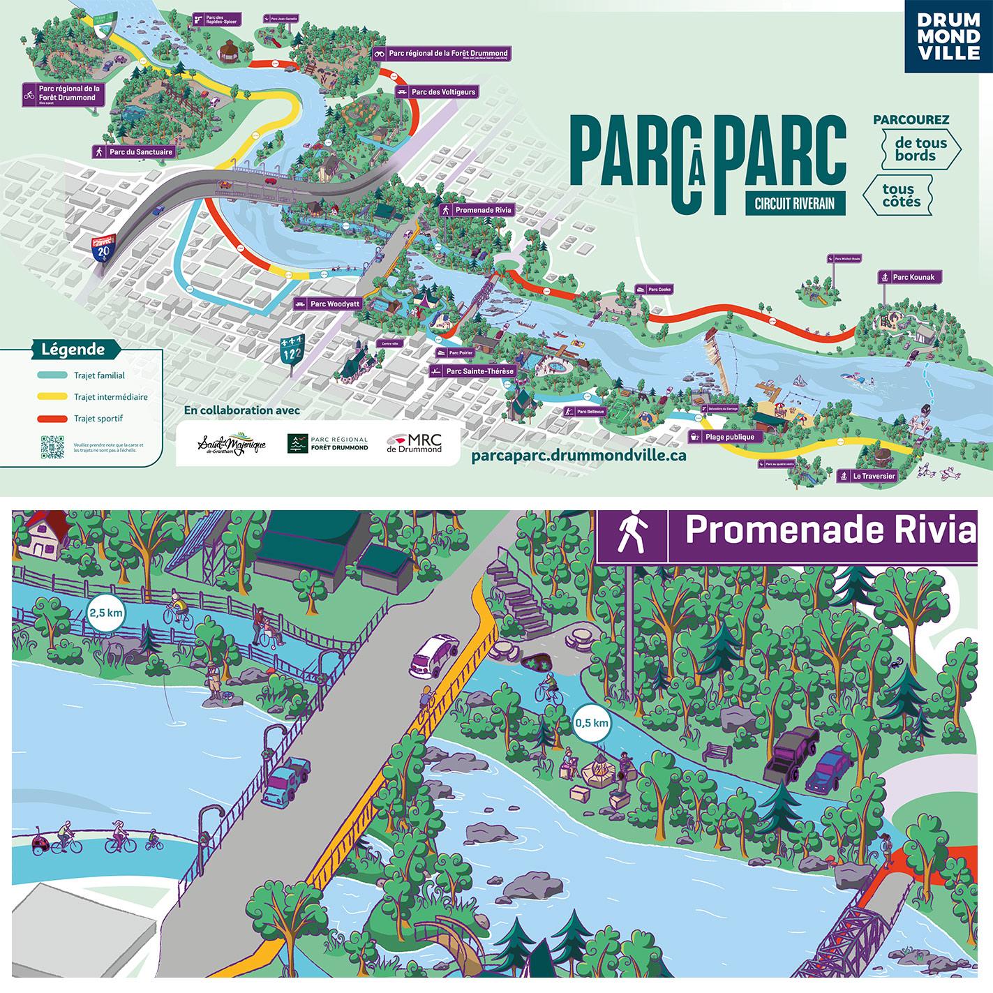 Nancy-Fournier_Oktane-Drummondville-Parc-a-Parc-illustration-carte-illustratrice