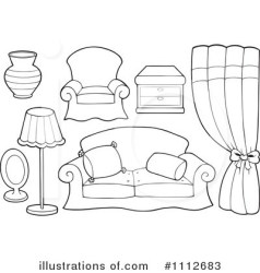 furniture clipart coloring pages illustration living visekart royalty table chairs rooms digital super clip lawn rf illustrationsof discover
