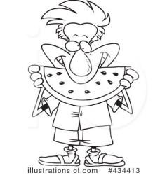watermelon clipart eating cartoon illustration royalty line guy leishman ron toonaday rf cart illustrationsof