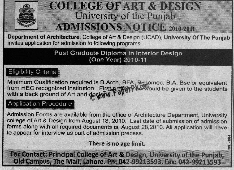 Interior Designing Courses In Karachi University