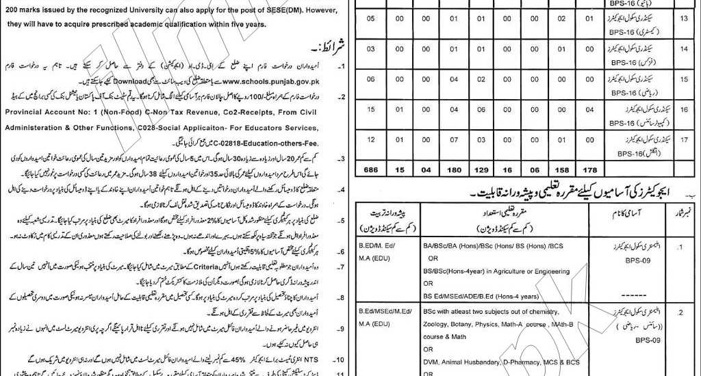District Pakpattan Educators Jobs 2014-2015 Form Online