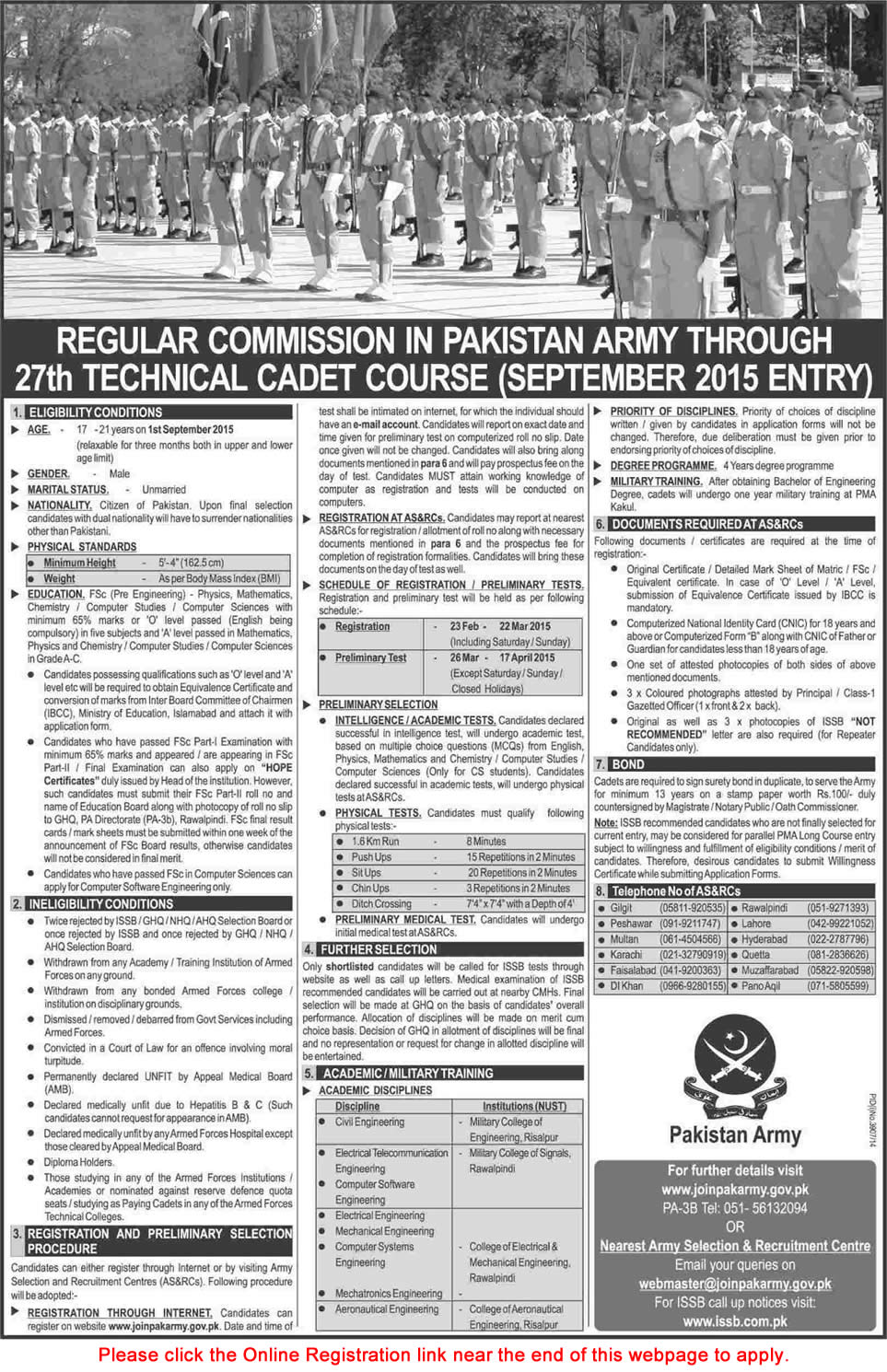 Join Pakistan Army Through 27th Technical Cadet Course September 2015 Registration