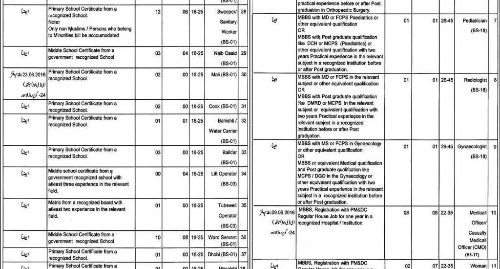 Health Department City District Govt Lahore Jobs 2016