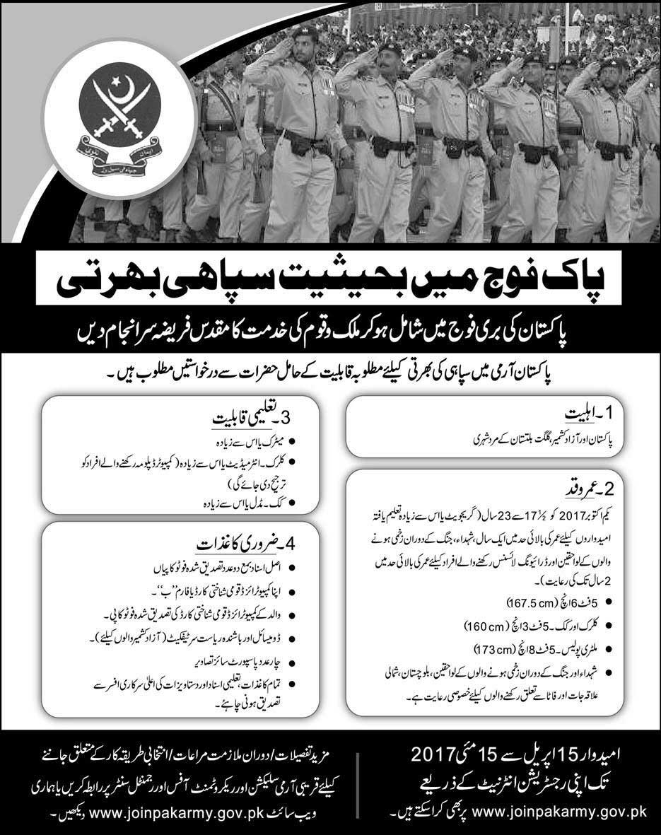 Join Pak Army As Soldier 2018 Online Registration Eligibility