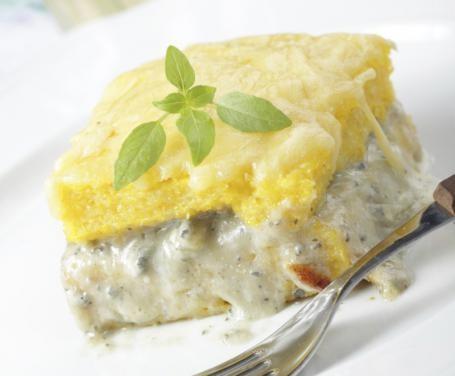 Polenta al forno con champignon e gorgonzola