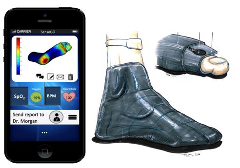 Smartphone e calzatura con sensori